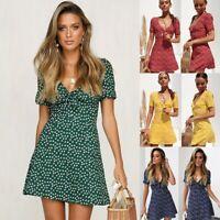UK Women Summer Casual Short Sleeve Mini Dress Evening Party Beach Dress Short