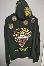 ED HARDY Very RARE Men s Hoodie Sz LARGE Embroidery Zip-up w/ Rhinestones TIGER