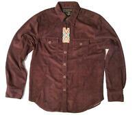 True Grit Men's Shirt Jacket 100% Cotton Long Sleeves Dark maroon New $125