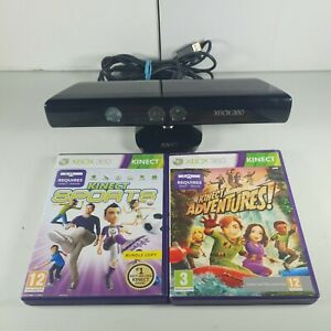 Xbox 360 Kinect Sensor Bar 2 Games Adventures Sports Model 1414 Tested Working