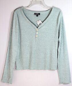 FRESHMAN 1996 Juniors LS Rib Hacci Henley Top Size L Seaweed Retail $34