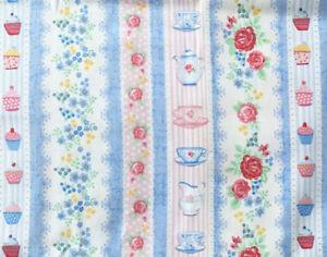 Makower Tea Party Stripe. 1.5 metre piece. 100% cotton. Patchwork