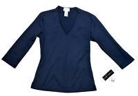 Linda Leal Basic V-neck Tee, Navy, Small MSRP $52.00