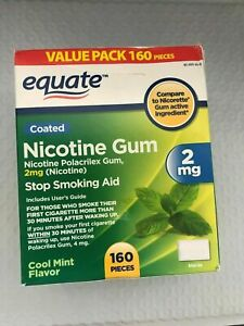 Nicotine Gum Stop Smoking Aid Mint Flavor Coated 2mg 160 Pcs Exp 6/23 Equate NEW