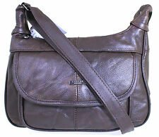 Women Lorenz Real Leather Multi Pocket Organiser Shoulder Handbag Brown