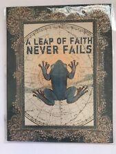 A LEAP OF FAITH NEVER FAILS Frog Boho Glitter Collage Fridge Magnet Papaya Art