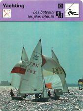 FICHE CARD Ketch Lihhtning Malibu Sharpie Sloop Snipe Vaurien Voilier Yacht 70s
