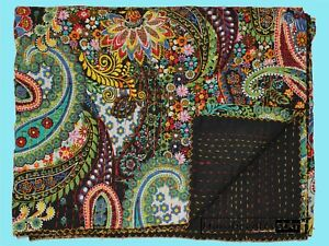 Indian Handmade kantha Quilt King Size Bedspread Cotton Coverlet Bohemian Throw