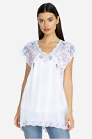 💕 JOHNNY WAS Blouse V Neck HAYDEN Tunic Short Sleeve Embroidered Dress S $248💕