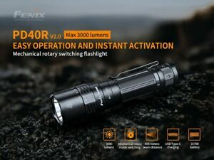 Fenix PD40R V2 3000 Lumens Rechargeable Rotary Switch Torch Includes Battery