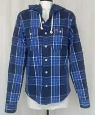 Hollister Long Sleeve Button Up  Blue Plaid Shirt with Hood size small
