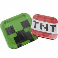 Minecraft Birthday Party Supplies 16 Plates - 8 Small and 8 Large