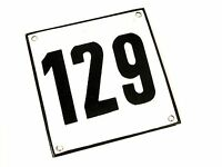 Vintage Antique German Porcelain Enamel Street House Number 129 Metal Sign 1960s