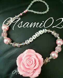 Personalised Bling Dummy Clip Rose Shamballa & Crystal Pink ❤❤ Stunning