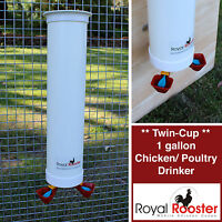 ROYAL ROOSTER Chicken / Poultry Coop - Single Waterer / Drinker with twin cups