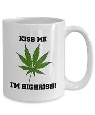 Marijuana Mug, Kiss Me I'm Highrish, Novelty 15oz Ceramic Irish Coffee Tea Cup