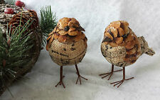 2 x Vintage Chic Bird Standing Christmas Decorations Hessian Music Pine Cone