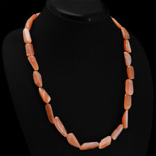Truely Attractive AAA 222.65 Cts Natural Orange Agate Unheated Beads Necklace