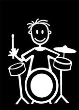 Official MY STICK FIGURE FAMILY Car Window Sticker B10 Boy & Drum Kit