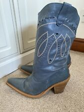 Ladies Dune Blue Cowboy Boots Genuine Leather Western Cowgirl Line Dance Boots