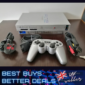 Sony Playstation 2 PS2 Console Silver inc Wires & Controller TESTED