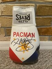 MANNY PACQUIAO SIGNED AUTO PHILIPPINE FLAG CLETO REYES R BOXING GLOVE PSA PROOF