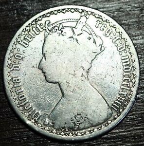 MDCCCLXVIII 1868 Die 13 Victorian .925 silver Gothic florin coin cross below ?