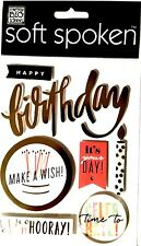 Soft Spoken Dimensional Stickers - HAPPY BIRTHDAY - Candles Celebrate Cake 1586