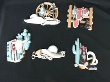 Vintage 1995 Home Interiors Southwestern Cowboy Wall Decor Complete set of 5