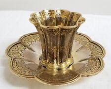 Antique Vintage Danish Gilt Silver Margrethe Cup and Undertray SVT Hallmark 830