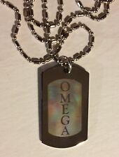 OMEGA PSI PHI, DOG TAG , (OMEGA), SILVER W/ ENGRAVED LETTERS AND CHAIN
