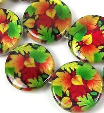 20mm Autumn Leaves Mother Of Pearl Disc MOP Beads 15""