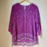 Johnny Was Floral Embroidered Eyelet Flowy Tunic Magenta SMALL