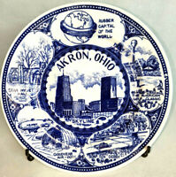 Vintage Collectors Plate Akron Ohio Blue Printed Goodyear Capitol, Skyline
