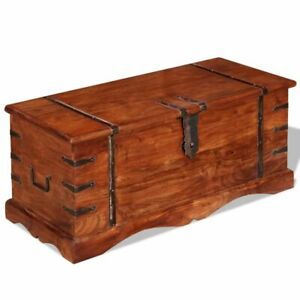 vidaXL Storage Chest Wooden Trunk Storage Box Coffee Table Side Table Solid Wood