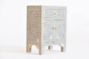 Bone Inlay Floral One Drawer Two Door solid wood Bedside Table Grey