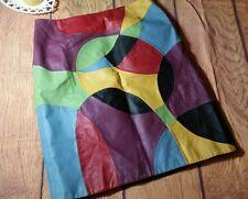 Retro Colorblock Leather Skirt women Size 16 Plus Metrostyle