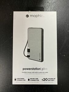 mophie PowerStation Plus(6k mAh) - Built-in Mirco USB & Lightning Cables - grey
