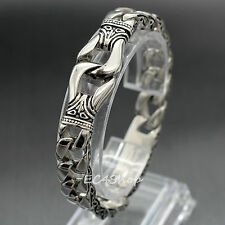Stainless Steel Cuban Carved Vine Chain Link Bracelet Silver Men Wristband