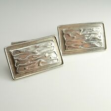Art Deco Silver Vintage Modernist Geometric Cufflinks Groom Cuff Links Wedding