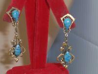 Vintage Gold Tone Art Nouveau Revival Dangle Blue Stone Screw Back Earrings