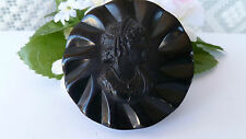 LARGE 1930s-40s Art Deco Carved Black Cameo BAKELITE Brooch Pin TESTED