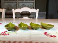 Green Leaf Ceramic Salt Cellars/Dips, Set of 4