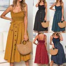 Women Summer Beach Ruffles Polka Dot Dress Ladies Stretch Sleeveless Sundress
