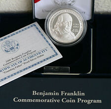 2006 P Ben Franklin Proof 90% Silver Dollar Founding Father $1 Coin Box and COA