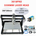 CNC 3018 PRO Machine Router 3 Axis Engraving Grbl Control+5500mw Laser Head USB