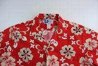 RJC Hawaii Bright Red Tan Floral Hawaiian CAMP SHIRT XL Extra Large