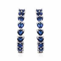 Silvertone Blue Glass Hoops Hoop Earrings Jewelry Gift for Women Cttw 13.2