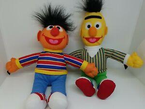 "Lot of 2 Sesame Street Plush Stuffed Bert 12"" and Ernie 10"""