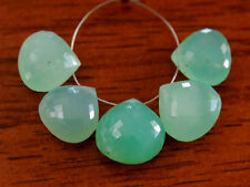Natural Green Chrysoprase Faceted Heart Briolette Gemstone Beads 001